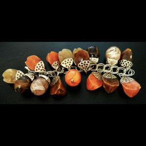 vintage chunky marbled acorn lucite charm bracelet